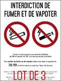 Interdiction interdit de fumer et vapoter - Autocollant vinyl waterproof - L.148 x H.210 mm - Lot de 3