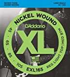 D´Addario EXL165 Cordes longues en Nickel pour Basse Custom Light, 45-105 Nickel
