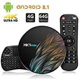 TICTID TV Box Android 8.1 avec Clavier Touchpad【4GB DDR3/64GB ROM】 Bluetooth 4.0 Android TV Box HK1 Max RK3328 Quad-Core 64bit Cortex-A53 Wi-FI 2.4G/5G LAN100M USB 3.0 Box Android TV