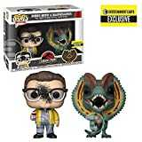 Funko Pop Movies Jurassic Park Dennis Nedry and Dilophosaurus GooSplattered Pop Vinyl Figure 2Pack Entertainment Earth Exclusive