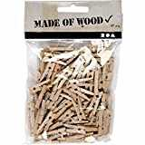 Fangfeen 100pcs Vêtements Pin 25 mm Mini Clip Photo en Bois Papier Peg Pince à Linge