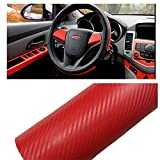 Silence-Shopping Autocollant de Voiture, 3D Carbone Fibre Vinyl Car DIY Wrap Feuille Roll Film Autocollant Autocollant Couleur Rouge 127X30cm