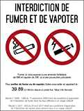 Interdiction interdit de fumer et vapoter - Autocollant vinyl waterproof - L.148 x H.210 mm - 1