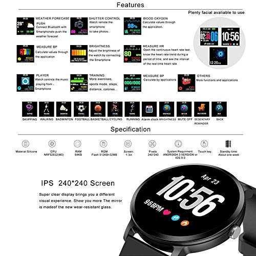 leegoal wasserdichte fitness tracker watch mit blutdruck. Black Bedroom Furniture Sets. Home Design Ideas
