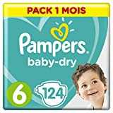 Pampers - Baby Dry - Couches Taille 6 (13-18 kg) - Pack 1 mois (x124 couches)