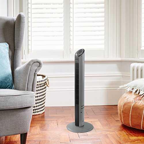 bionaire btf001x ventilateur colonne programmable noir inox 94 cm. Black Bedroom Furniture Sets. Home Design Ideas