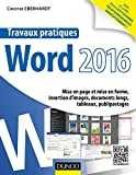 Travaux pratiques avec Word 2016 - Mise en page et mise en forme, insertion d´images, document long: Mise en page et mise en forme, insertion d´images, documents longs, tableaux, publipostages