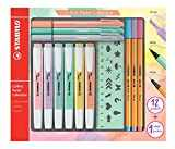 Surligneur - STABILO Pastel Collection - Coffret Mixte 13 pièces: 6 STABILO Swing Cool + 3 STABILO Point 88 + 3 STABILO PointMax + 1 règle pochoir