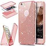 Etsue iPhone 7,iPhone 8 Coque en Silicone Rose Luxe 360 Degré Coque Avant et arrière Full Body Transparent Ultra-mince Souple TPU Gel Brillant Sparkle Cristal Clair Coque Double Faces Etui iPhone 7/8