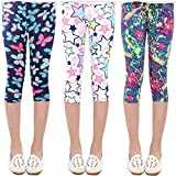 Oyoden Ragazza Stretch Leggings Stampa 3/4 Floral Collant Calzamaglie Bambina Scuola Uniforme 3 Packs