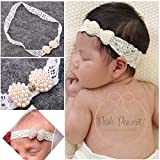Frueaduy Fashion Infant Pearl Lace Toddler Bowknot Hairband HeadWrap Headband