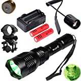 WindFire Waterproof 350 Lumens 250 Yards Green LED Coyote Hog Fox Predator Varmint Hunting Flashlight with Red Light LED Bulb Module Pressure Switch & Barrel Mount & Spare 18650 Battery and Charger