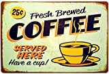 "ERLOOD Fresh Brewed Coffee Served Here Have a Cup- Retro Vintage Tin Sign 12"" X 8"""