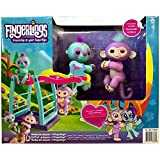 WOW Monkey Bar & Swing Playset w/ Two Cute & Brightly Colored Fingerlings, Monkey Savannah & Sloth Clara – Interactive Finger Toys Great Hours Fun Kids