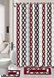 Luxury Home Collection 15 Pc Bath Rug Set Printed Non-Slip Bathroom Rug Mat and Rug Contour and Shower Curtain and Rings Hooks (Burgundy)