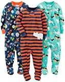 Simple Joys by Carter´s Baby Boys´ 3-Pack Snug Fit Footed Cotton Pajamas, Dogs/Space/Rhino, 12 Months