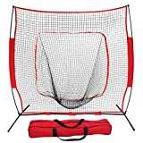 ZENY 7´×7´ Baseball Softball Practice Net Hitting Batting Catching Pitching Training Net w/Carry Bag & Metal Bow Frame, Backstop Screen Equipment Training Aids