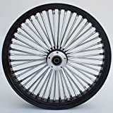 21X3.5 BLACK FAT SPOKE DUAL DISC FRONT WHEEL HARLEY FLT TOURING BAGGERS 2000-07