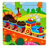 LandFox Toy,Wooden Kids 16 Piece Jigsaw Toys Education And Learning Puzzles Toys
