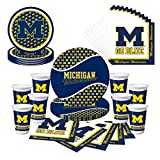 Michigan Wolverines U of M Party Bundle with Plates, Cups, Napkins - (Serves 8)