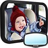 Baby Car Mirror for Back Seat | View Rear Facing Infant in Backseat | CRASH TESTED Best Newborn Safety Secure Double-Strap | FREE Cleaning Cloth & eBook | Lifetime Warranty | Baby Shower Gift Box