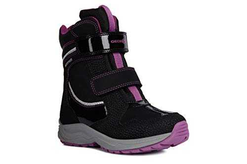 Geox Mädchen Snowboots New Alaska Girl, Kinder Stiefel,Winterstiefel,Schneestiefel,Thermostiefel,Moon Boots,Black/Violet,32 EU / 13 UK Child