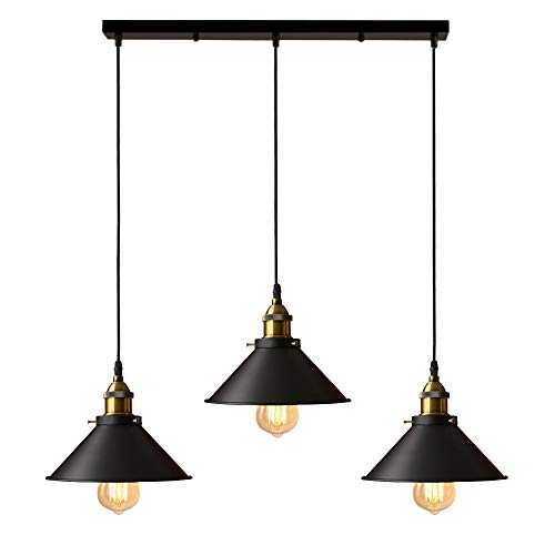 iDEGU 3 Lampes Suspension Luminaire Industrielle Lustre Plafonniers Design Edison Métal Lustre Suspension avec Support en Barre, Ø 22cm, Noir