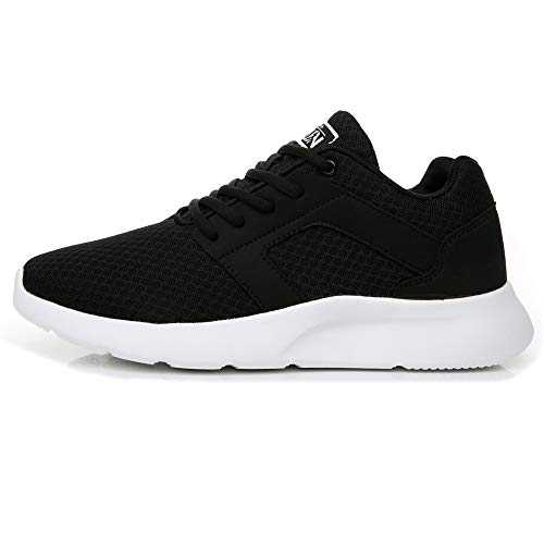 Axcone Homme Femme Running Baskets Chaussures Outdoor Running Gym Fitness Sport Sneakers Style Multicolore Respirante 36-47EU, Noir Blanc, 38 EU