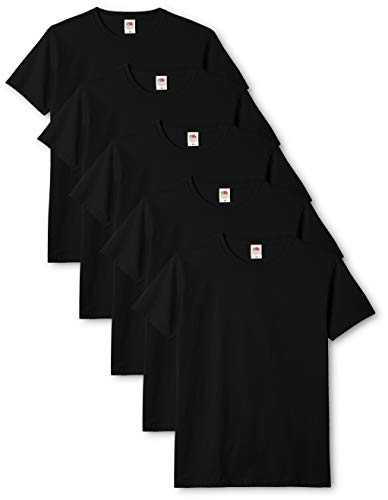 Fruit of the Loom Original T., T-Shirt Uomo, Nero (Black 36), Large(Pacco da 5)