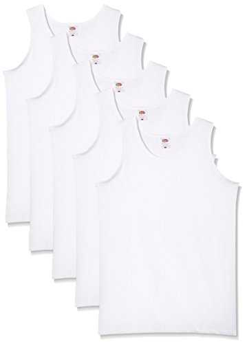 Fruit of the Loom 5-Pack Athletic Mens Canotta, Bianco (White), Large (Pacco da 5) Uomo