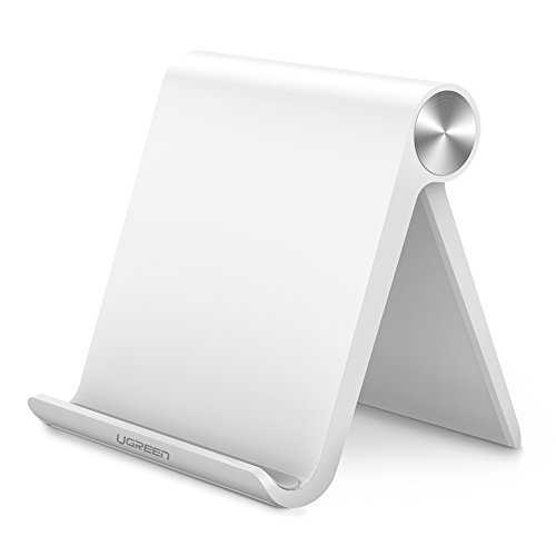 UGREEN Support Tablette Téléphone Bureau Réglable et Pliable Support Dock Compatible avec iPhone XS Max XR X 8 7 6 Plus, iPad Pro, iPad Air, iPad Mini, Samsung Tablette, Nintendo Switch (Blanc)