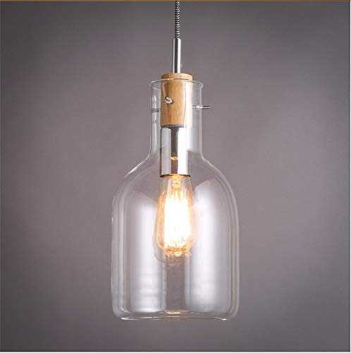 Hanging Lamp Transparent Glass Bottle Chandelier Simple Art Cafe Balcony Bar Single Head Windows Small