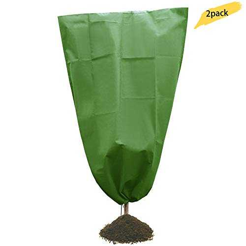 "Warooma Non-Weave Plant Cover 70G Warm Worth Frost Fabric Blanket Plant Shrubs Jacket Trees Protection Bag for Season Extension Protection Winter Garden Greenhouse Bags(2Pcs 29.5"" x 71"")"