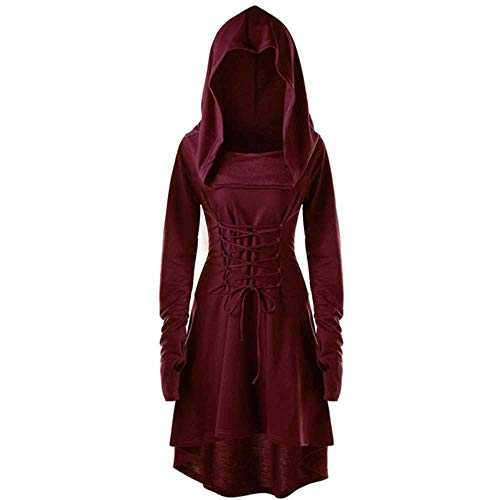 TAWXR S-5XL Lady Hooded Dress Middle Ages Renaissance Halloween Hunter Archer Cosplay Costumes Vintage Medieval Bandage Party Vestido