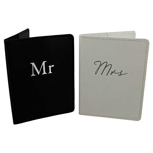 Amore Set of 2 Mr & Mrs Black and White Passport Holders Honeymoon by Amore