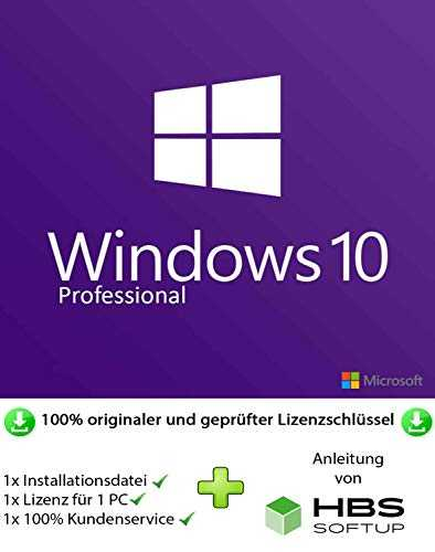 MS Windows 10 Professional 32 bit & 64 bit Vollversion Multilingual - Original Lizenzschlüssel per Post u. E-Mail + Anleitung von HBS SOFTUP® - Versand max. 60Min