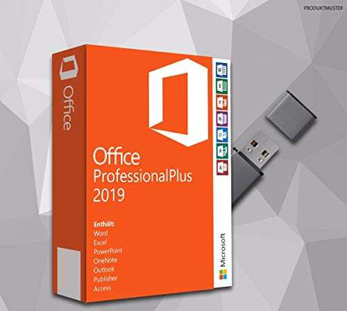 MS Office Professional Plus 2019 (32 Bit 64 Bit) mit USB Stick, Original Lizenz-Key, Produktschlüssel, Deutsche Lizenz, Anleitung von SWU Softwareunion