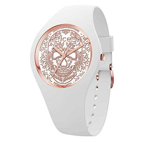Ice-Watch - ICE change Calavera white rose-gold - Montre blanche pour femme avec bracelet en silicone - 016052 (Medium)