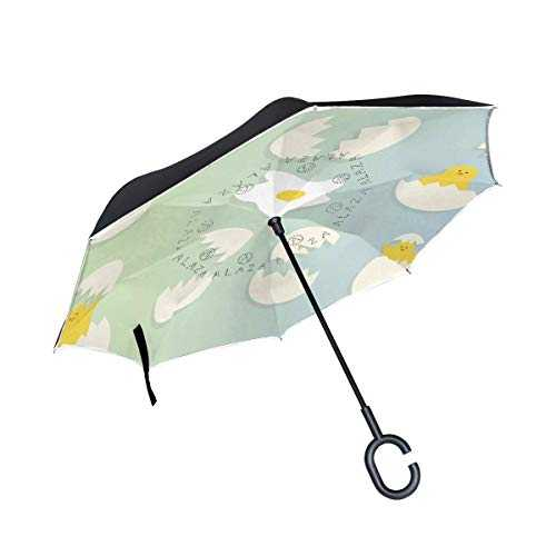 Reverse Umbrella,Free Broken Eggs Inverted Night Reflective Edge Golf Umbrellas,Double Layered Polyester Canopy,O-Shape Handle