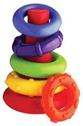 Playgro-40082 Pirámide Rock and Stack, Color Verde, Amarillo, Rojo, Lila, Naranja (40082)