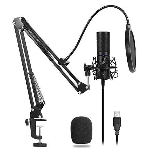 TONOR Microphone à Condensateur USB Enregistrement pour Ordinateur de Bureau et Ordinateur Portable MAC Windows Microphone Cardioïde pour Enregistrement Studio Conversation YouTube Voice Over