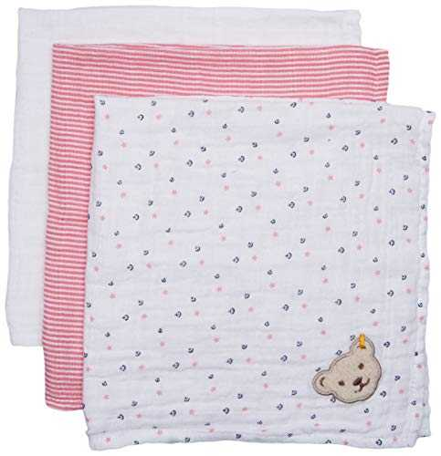 Steiff Baby-Mädchen Mullwindel 3er Pack Halstuch, Rosa (Morning Glory 7013), One Size