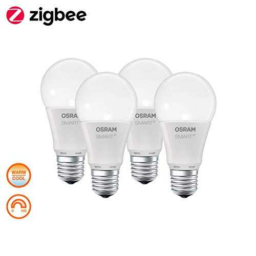 OSRAM Smart  Lot de 4 Ampoules LED Connectées | Culot E27 | Forme Standard | Dimmable | Blanc Chaud/Froid 2700/6500K | 9W (équivalent 60W) | Zigbee - Compatible Android & Amazon Alexa