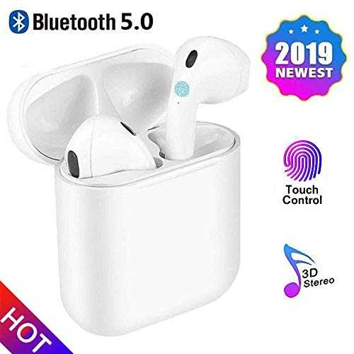 Écouteurs Bluetooth 5.0, Réduction Intelligente du Bruit, Écran contextuel Automatique, Surround 3D stéréo, Casque binaural pour Apple Airpods Android/iPhone/Samsung/Huawei