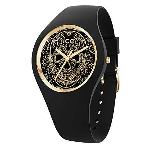 Ice-Watch - ICE change Calavera black gold - Montre noire pour femme avec bracelet en silicone - 016051 (Medium)