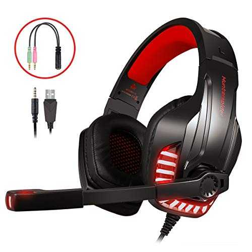 LATEC Micro Casque Gaming PS4, PC, Xbox One S, Ordinateur Portable,Tablette, Mac, Son Surround stéréo, Annulation du Bruit sur Le Casque