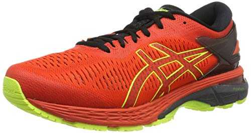 ASICS Gel-Kayano 25, Chaussures de Running Compétition Homme, Multicolore (Cherry Tomato/Safety Yellow 801), 44 EU