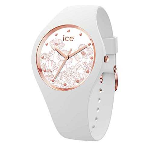 Ice-Watch - Ice Flower Spring White - Montre Blanche pour Femme avec Bracelet en Silicone - 016662 (Small)