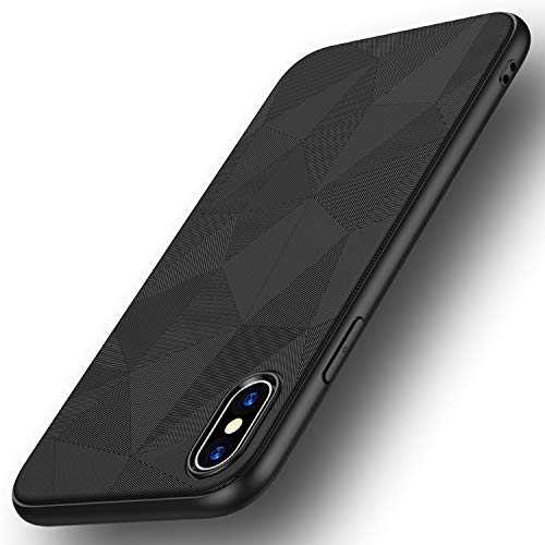 Losvick Coque iPhone XS Max, Silicone Bumper Souple[Anti-Choc Air Cushion] Fine l Flex TPU [Matte Non Slip Surface ] Anti-Choc et Anti-Rayures Silicone Housse Etui Coque pour iPhone XS Max-Noir