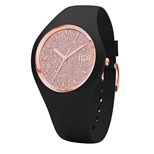 Ice-Watch - Ice Glitter Black Rose-Gold - Montre Noire pour Femme avec Bracelet en Silicone - 001353 (Medium)